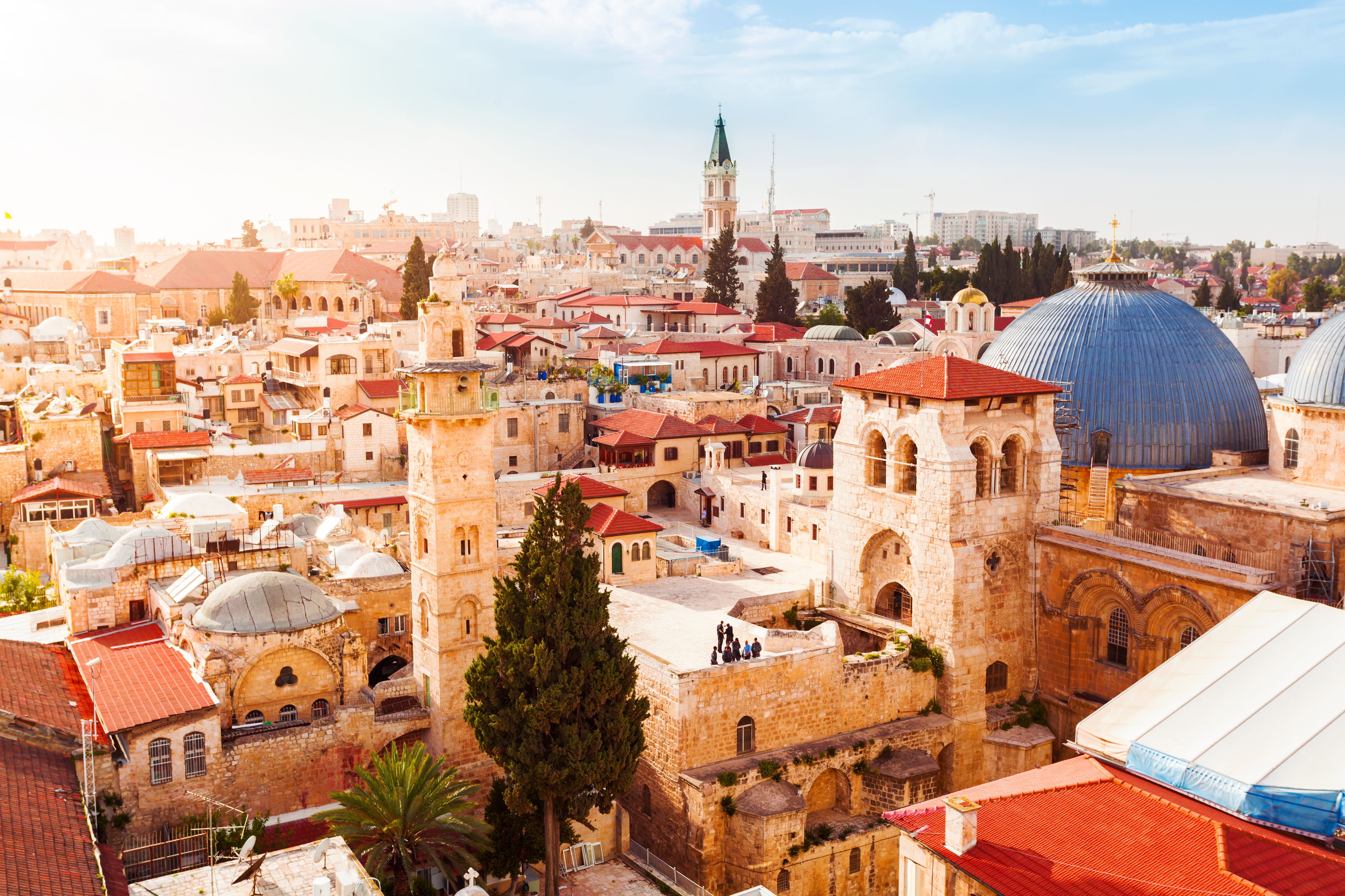 The Old City Jerusalem Skyline and the Church of the Holy Sepulchre.