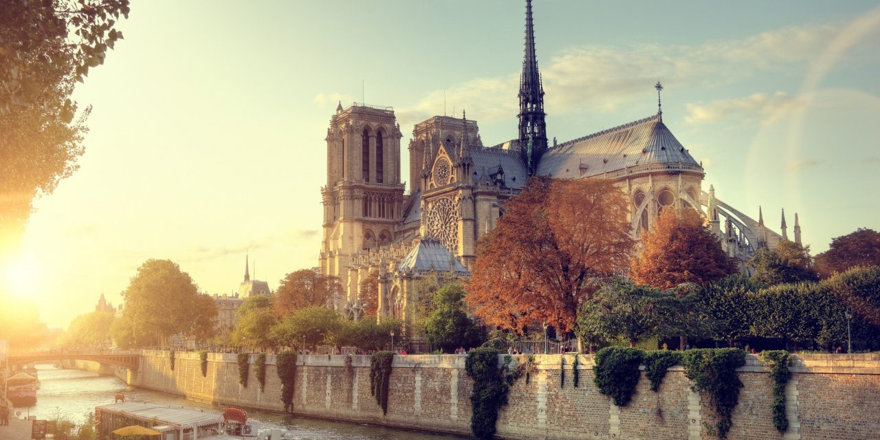 Notre-Dame cathedral in Paris, France at sunset