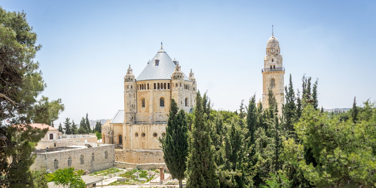 The Dormition Abbey, Catholic church, Benedictine monastery, view from the walls of the Old City of Jerusalem, Israel