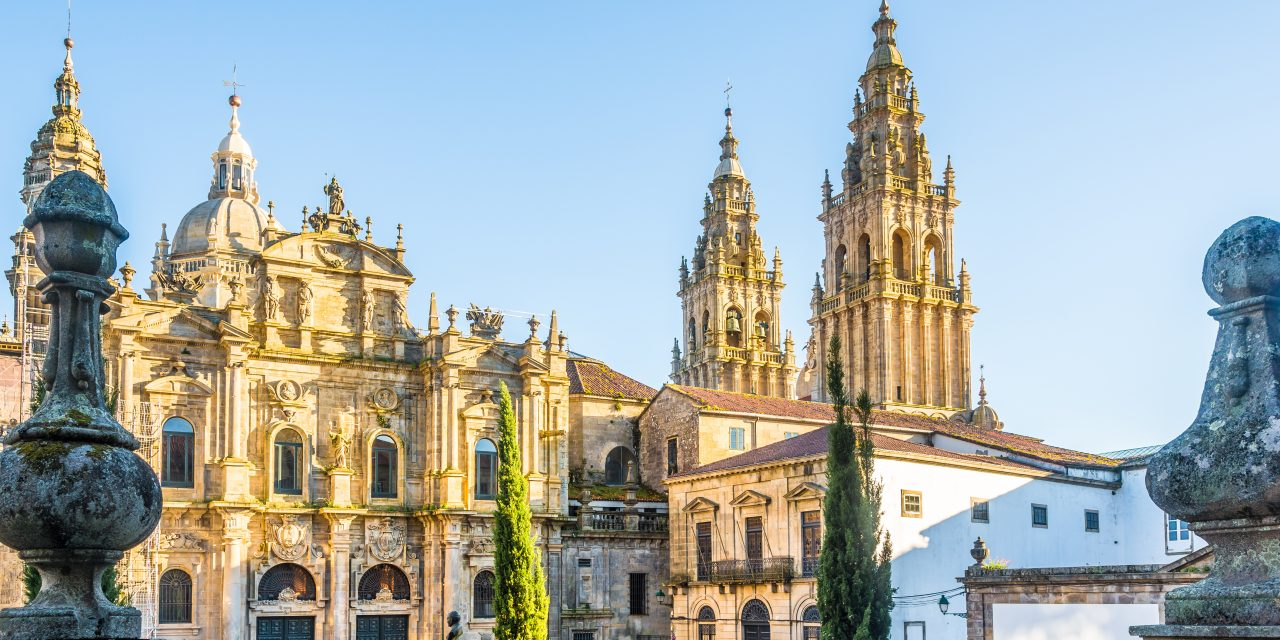 View at the Santa Catarina chapel at Immaculada place in Santiago de Compostela, Spain